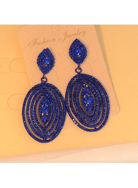 Luxe Royal blauwe oorbellen - strass