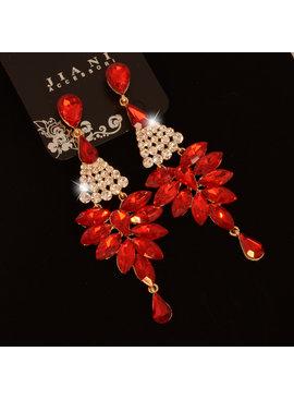Strass oorbellen  Rood-  Met verschillende kristallen