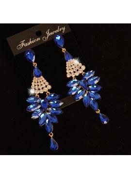 Strass oorbellen  Blauw -  Met verschillende kristallen