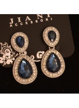 Bruids oorbel Bonita - met Marine blauwe kristallen