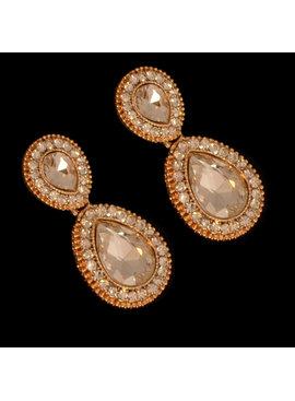 Bruids oorbel Bonita - Goud  - met grote kristallen