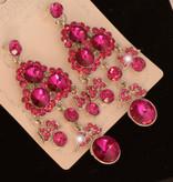 Bruids oorbel Shella - Fuchsia - met grote kristallen