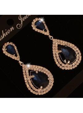 Bruids oorbel Veena - Marineblauw - met grote kristallen