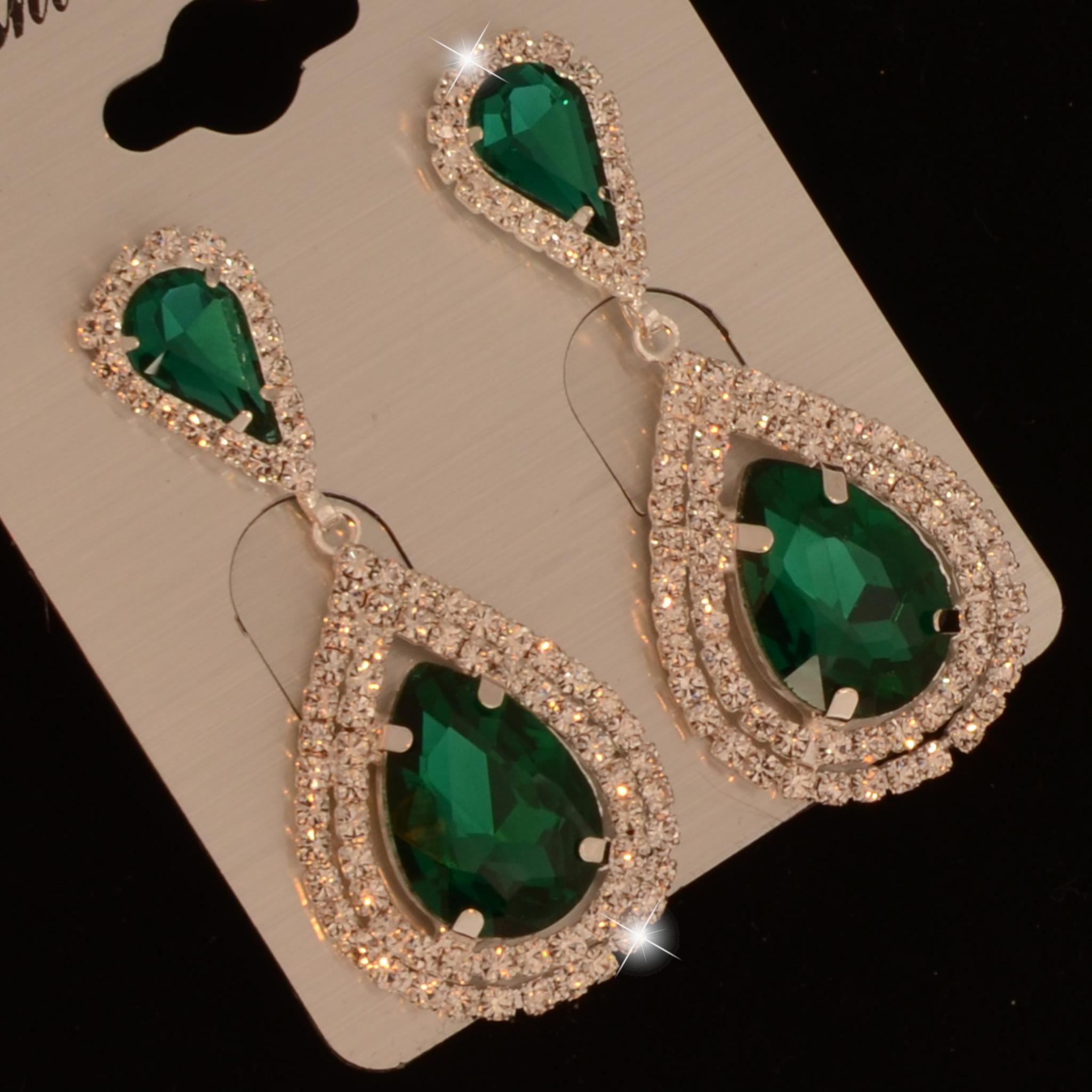 Bruids oorbel Veena - Groen - met grote kristallen