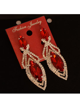 Fashion Jewelry Party oorbellen - Rood/Zilver - met clips
