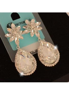 jewel for you //Bruids oorbellen Candy - Zilver  - met grote kristallen