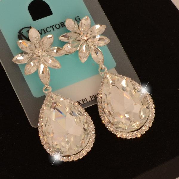 //Bruids oorbellen Candy - Zilver  - met grote kristallen