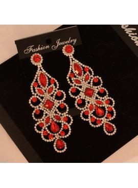 oorbellen strass -  chandelier-shape - helder rood