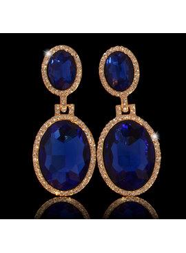 Strass oorbellen Sharina Blauw - met grote sierkristallen