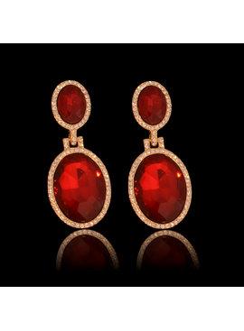 Strass oorbellen Sharina Rood - met grote sierkristallen