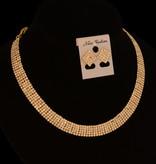 //strass collier - Nora - Goud + bijpassende oorbellen en armband