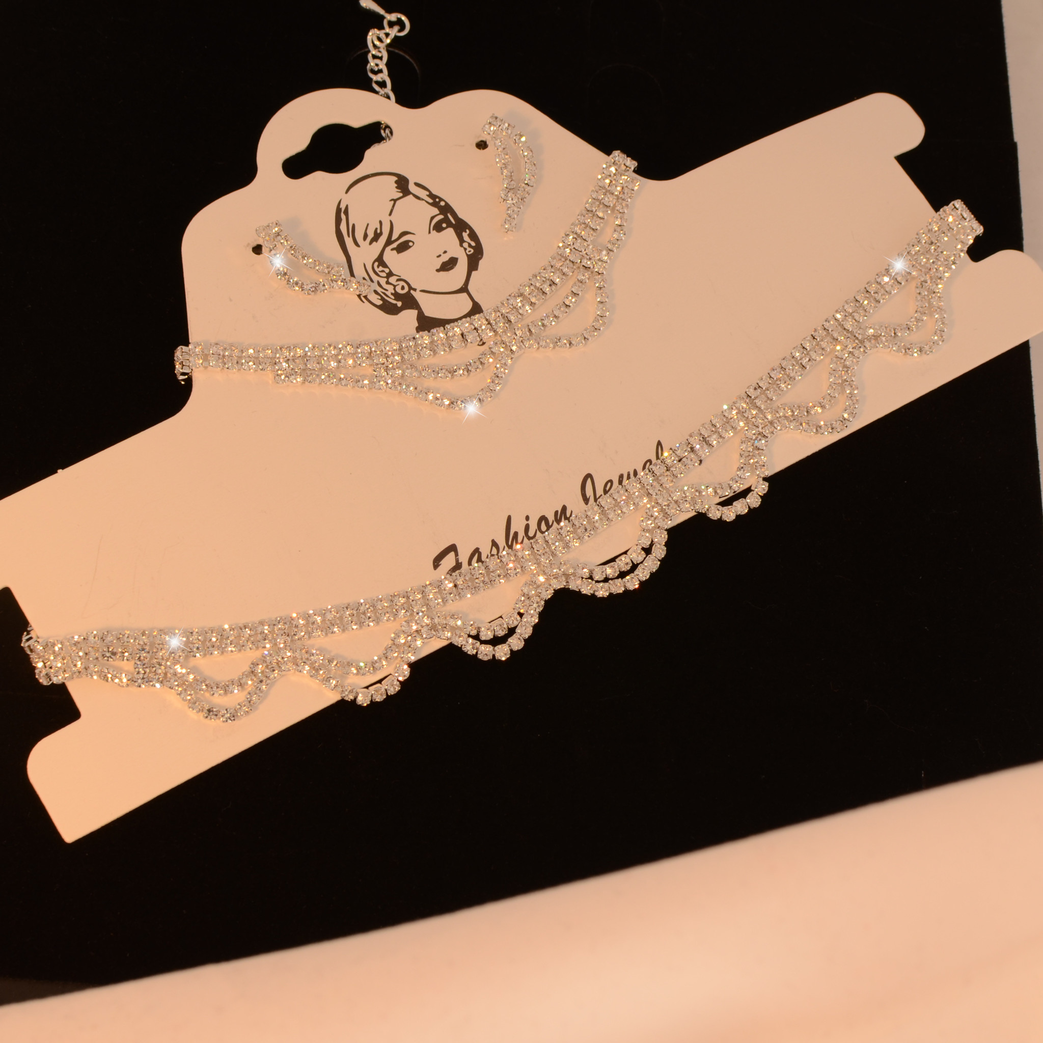 Fashion Jewelry Fijne strass collier - ZIlver + oorbellen en armband
