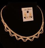 Fijne strass collier - Goud + oorbellen en armband