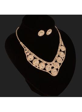 Fashion Jewelry Strass collier met grote  sierkristallen - Zilver