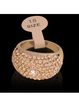 Ring - zilverkleurig  met fijne strass kristallen