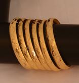 Brass Bangle Armband set Goud -  6 st.