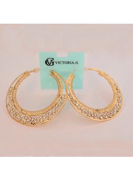 Fashion Jewelry Creolen goudkleurig met fijne strass