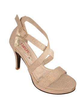 Starling Zilverkleurige sandalen - Lilly  met kruisbandjes