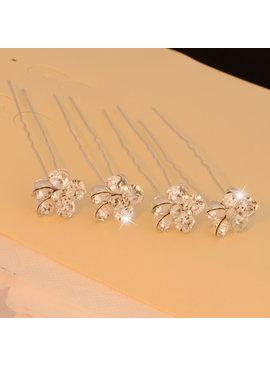 /Haarpinnen met grote fonkelende sierkristallen (4st.)