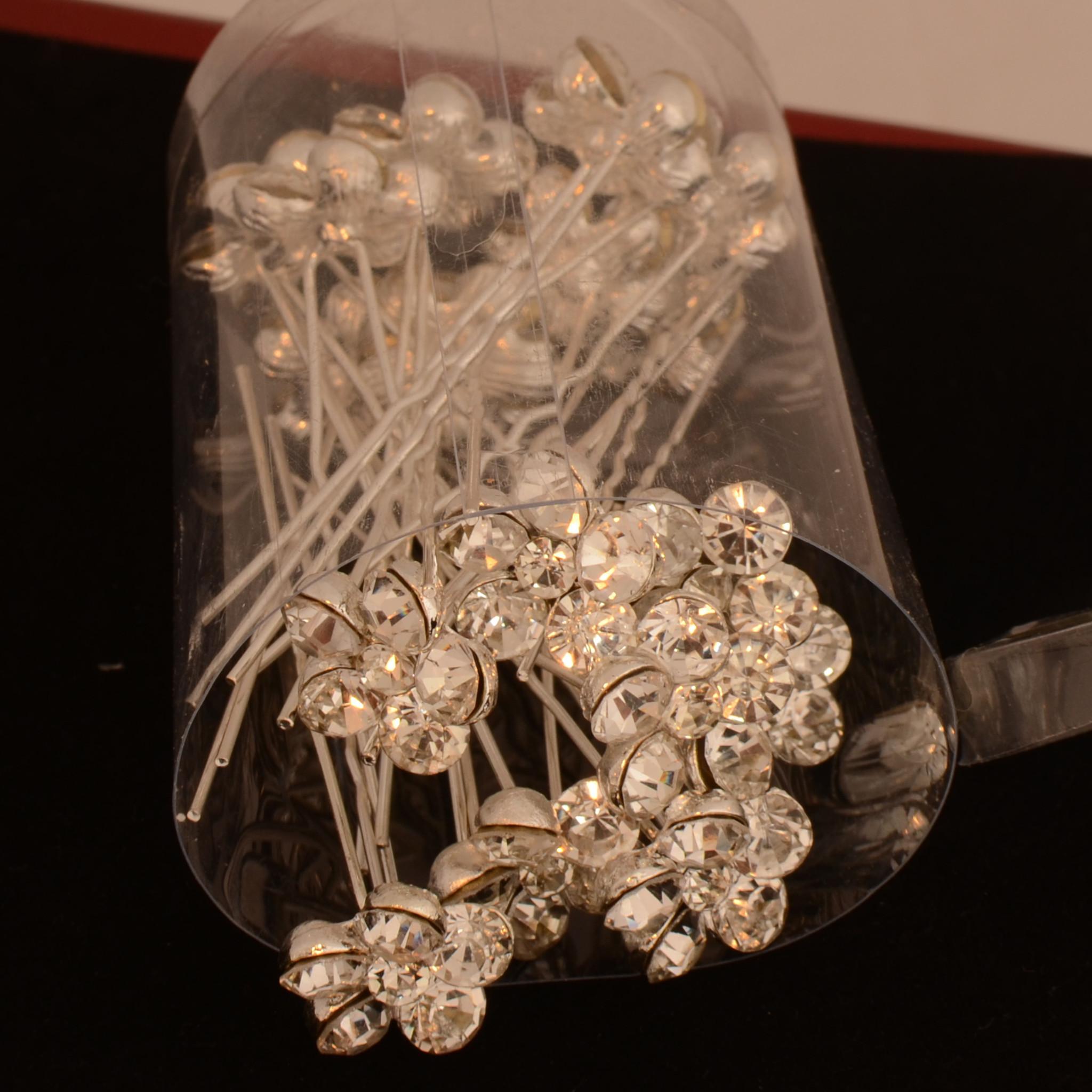 Haarpinnen met grote fonkelende sierkristallen (4st.)