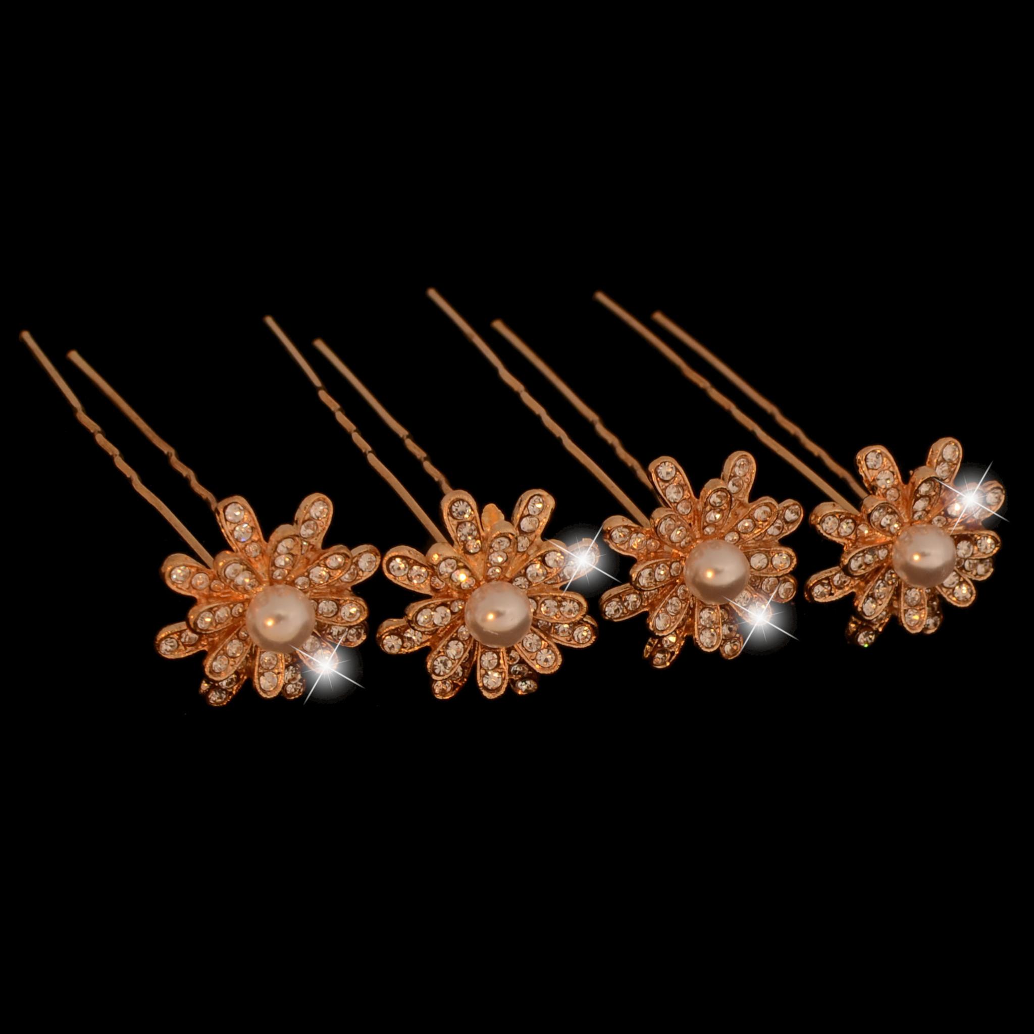 Haarpinnen met parels en strass (4 st.) Goud