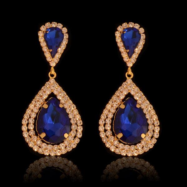 Bruids oorbel Veena - Blauw  met grote kristallen  Gold