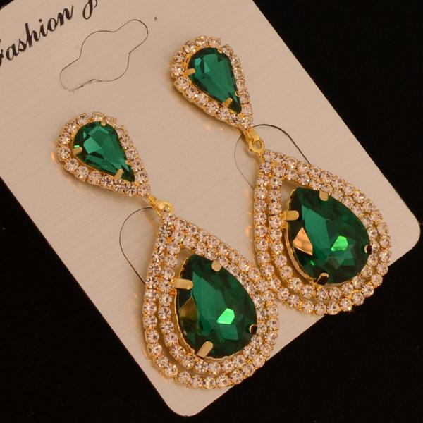 Bruids oorbel Veena - Green / Gold  met grote kristallen