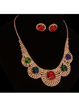 Strass sieraden set - Multi color - met grote  sierkristallen