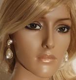 Bruids oorbel Veena - Goud - met parels en strass