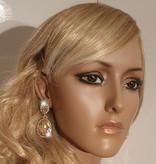 Bruids oorbellen  Brons - Sharina - met grote sierkristallen