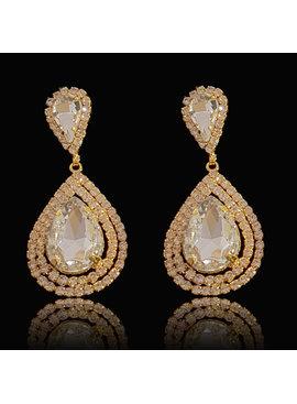 Bruids oorbel Veena - Goud - met grote kristallen