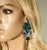 Bruids oorbel Shella - Groen - met grote kristallen