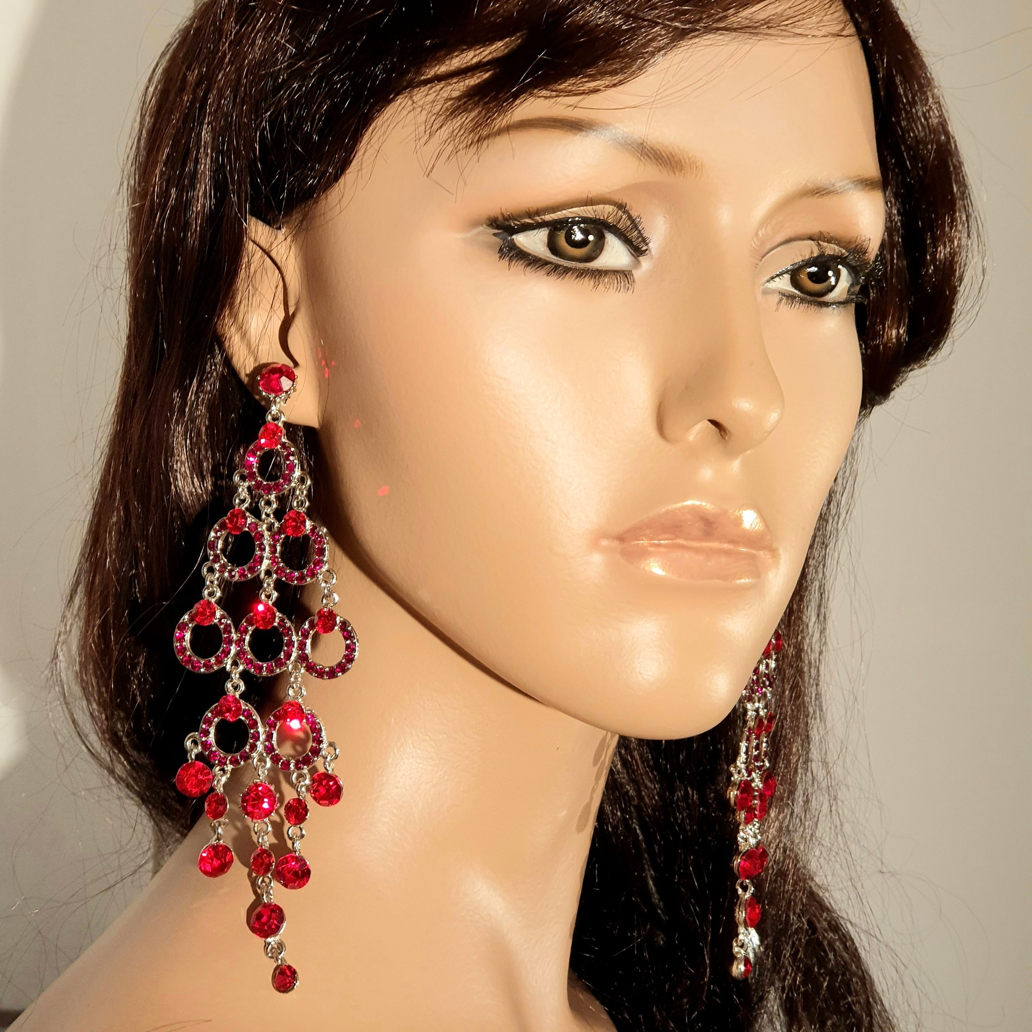 -Rode oorbellen - Pia