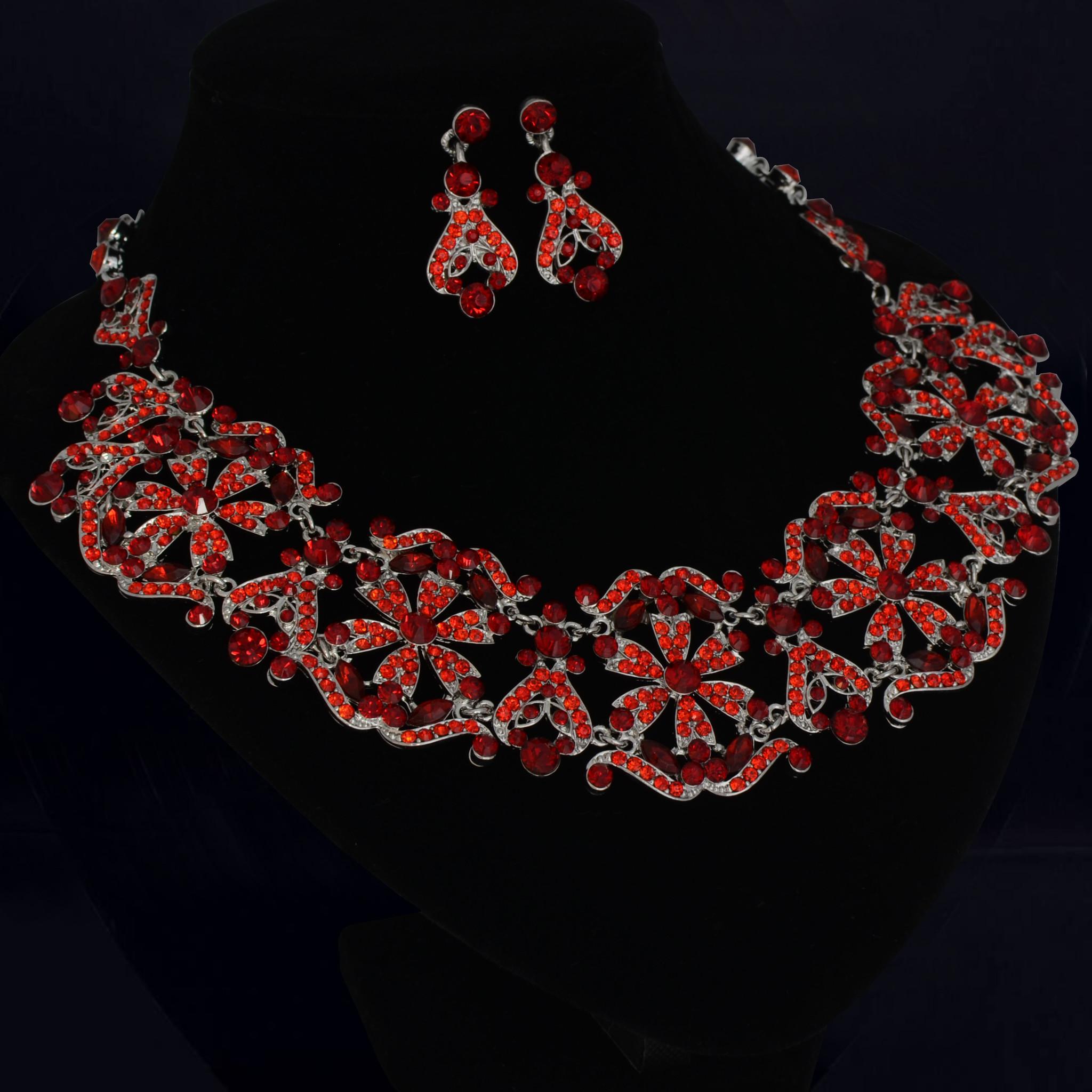 Bruidscollier met oorbellen - Rood
