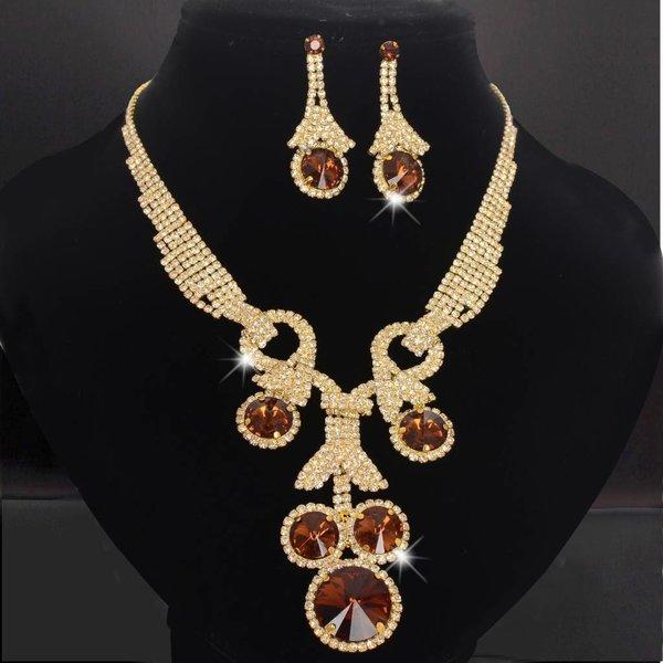 Strass sieraden goud/bruin