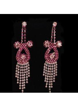 Roze strass oorbellen