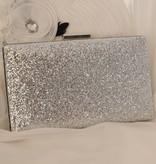 Glitter clutch zilver
