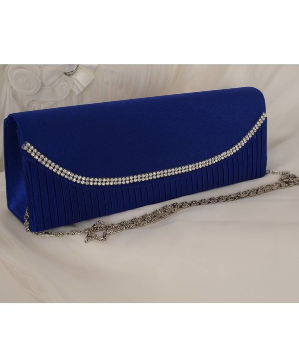 Blauwe avondtas - satijn