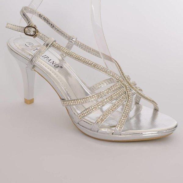 Zilverkleurige sandaaltjes met strass