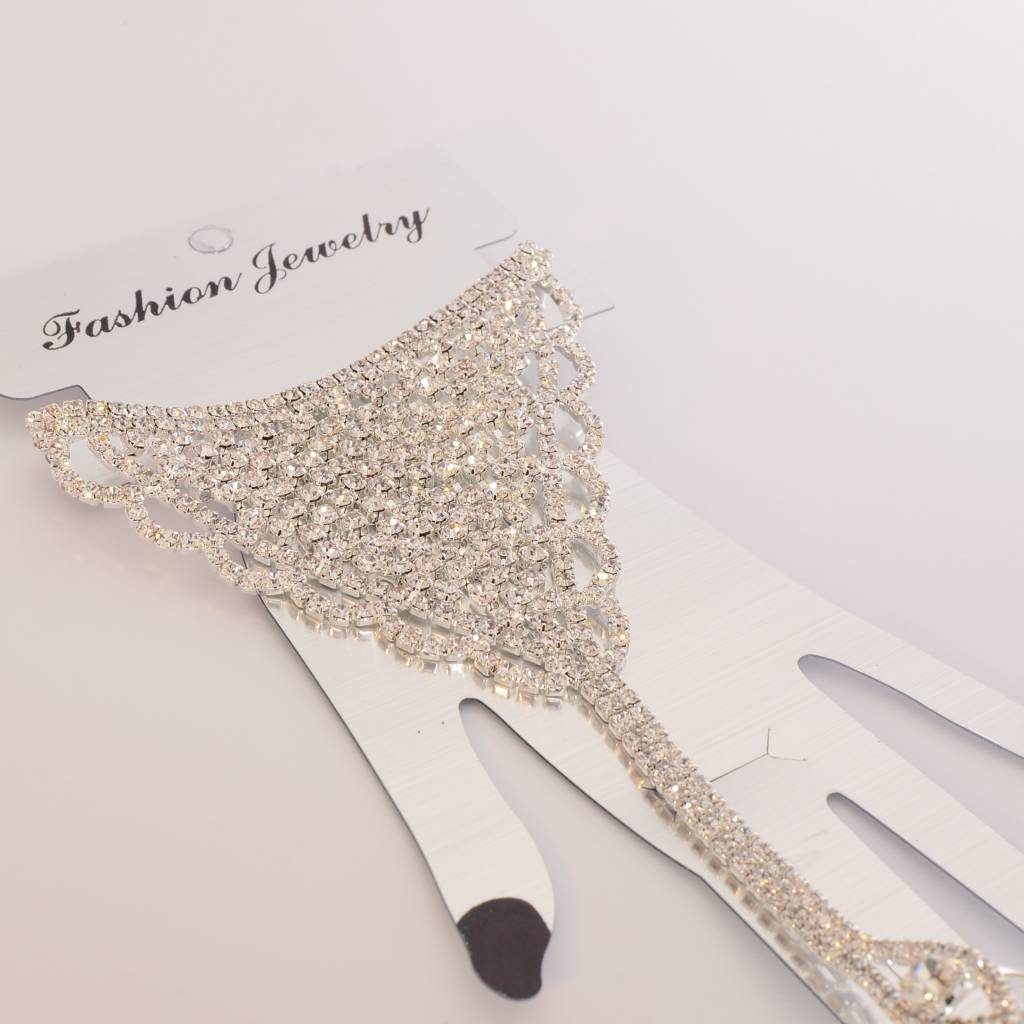 Handsieraad Ring + Armband - Strass Zilver