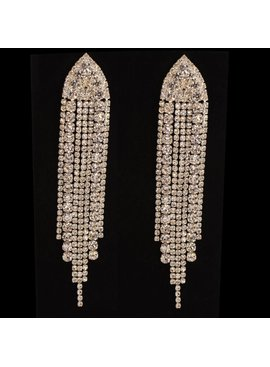 oorbellen met strass steentjes - Zilver