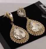Strass oorbellen met grote steen - Goud