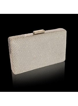 Box clutch met strass-zilver