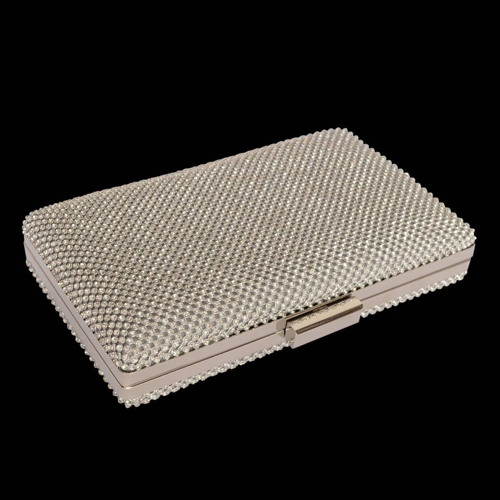 Box clutch met strass-zilver