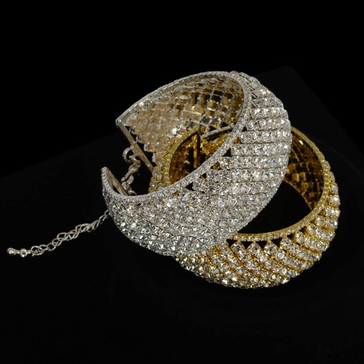 Bangle Armband Strass - Zilver