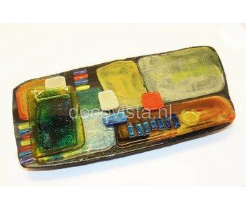 Tapas und Fingerfood Teller mit Dip Schale, Glas