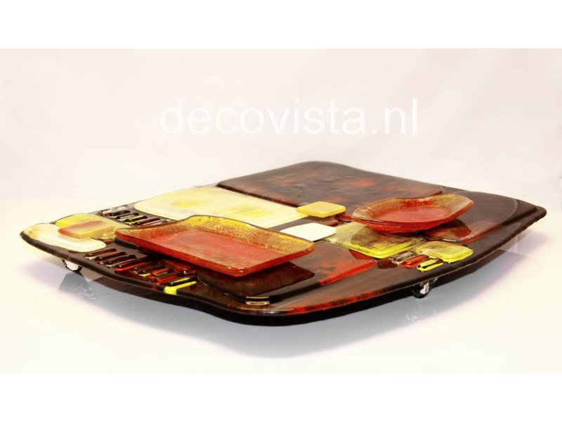 Tapas plate, finger food or snacks plate glass fusion
