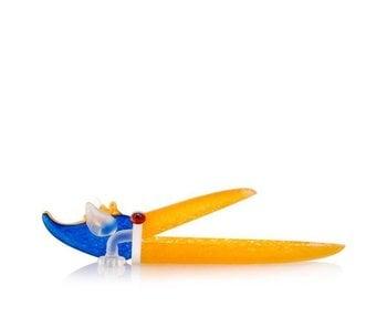 Borowski Plato Pelican o tazón en amarillo azul esmerilado