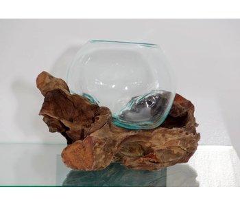 Bowl op hout, glas op stronk - E