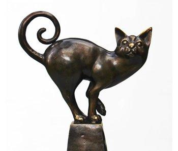 Kat op sokkel, echt brons